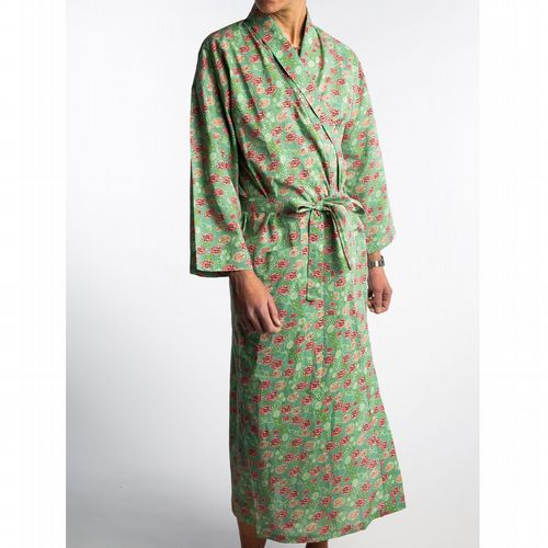 Printed Cotton Robe - Long - Bundi Lichen